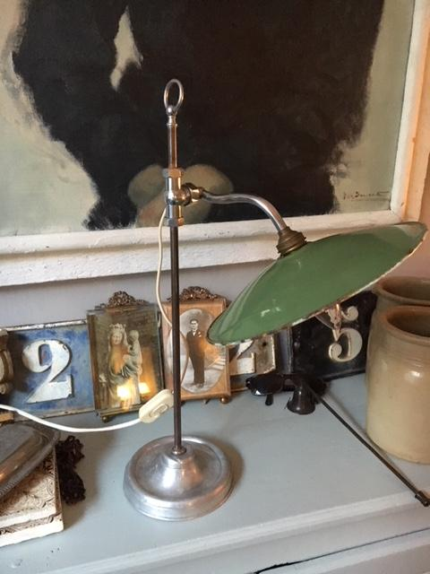 oude lamp van chroom en metaal brocante