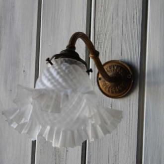 Art deco wandlampje met glazen kap
