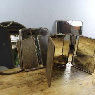 Vintage kappersspiegels aan kettinkje