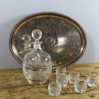 Kristallen likeurset (karaf met 6 glaasjes)