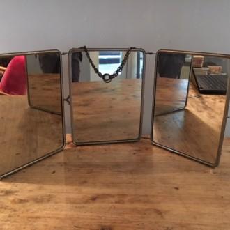 Vintage spiegel kapper drieluik