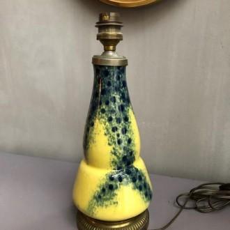 Franse tafellamp met geel, blauw en messing