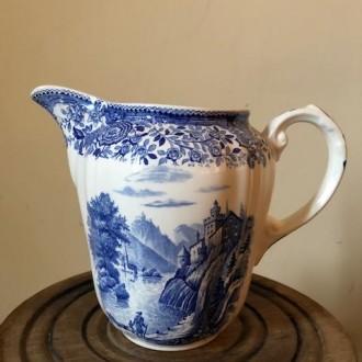 Blauw witte kan vaas Villeroy & Boch, patroon Burgenland