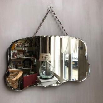 Art deco spiegel met facet en ophang ketting