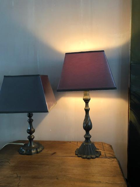 tafellampjes van tin brocante vintage