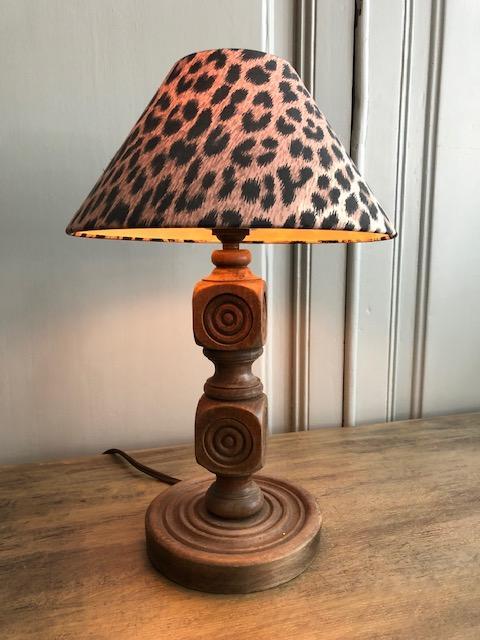 vintage houten frans tafellampje