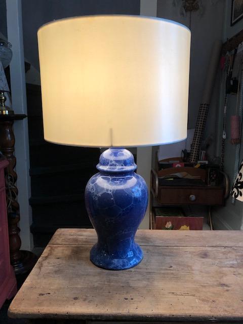 franse blauwe vintage lamp