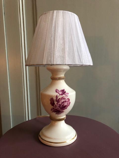brocante vintage rozen lampje keramiek