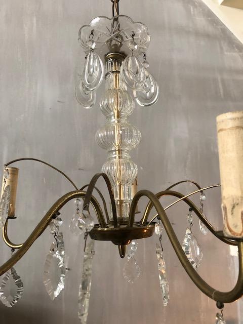 brocante kroonluchter glas en metaal