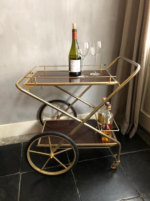 vintage drankenwagen trolley goud inklapbaar