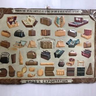 Oude Franse reclame plaat reistassen en reiskoffers