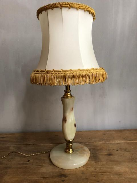 vintage onyx en messing lamp brocante