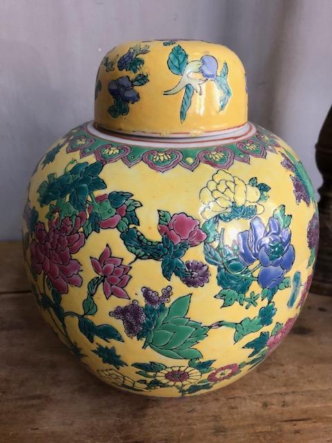 brocante gemberpot geel chinees