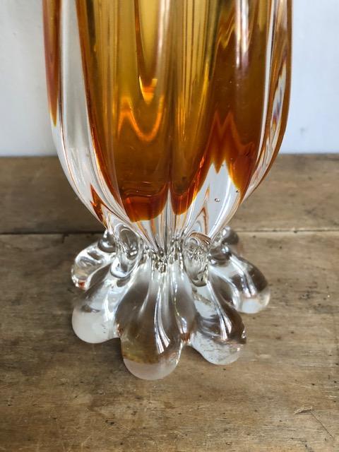 vintage vaas glas geel