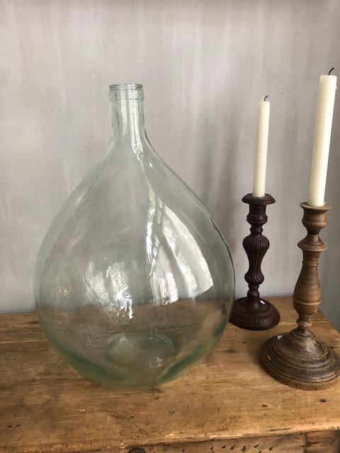 vintage 20 liter blank frans transparant gistfles brocante