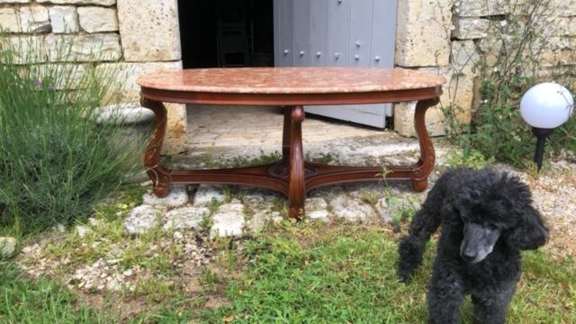 franse brocante antieke salontafel met marmer blad