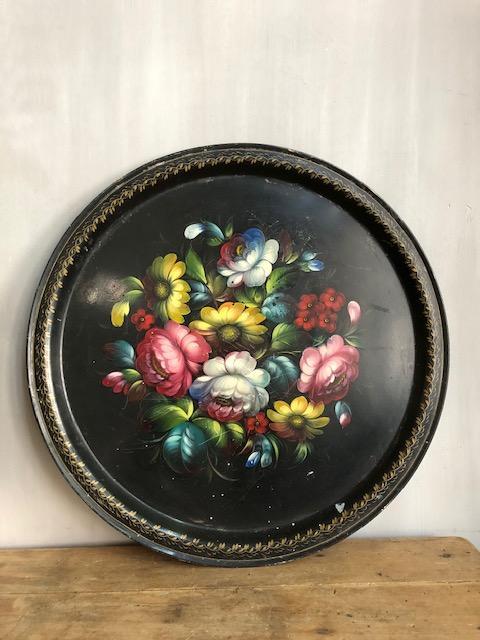 brocante rond zwart bloemen hand beschilderd dienblad