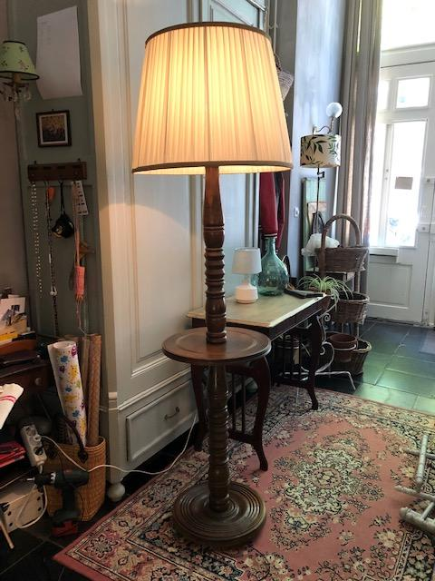 vintage brocante oude houten tafellamp vloerlamp