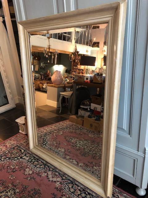 stijlvolle oude grote vintage brocante spiegel met facet
