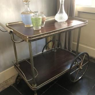 Vintage serveerwagen trolley Hollywood Regency stijl