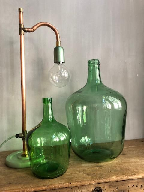 vintage gistfles licht groen 10 liter