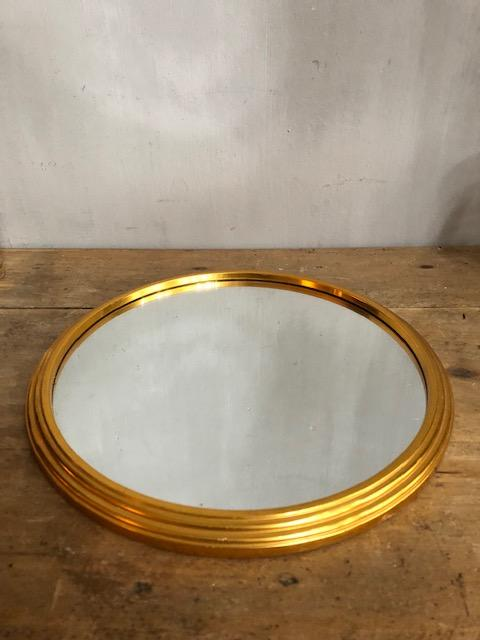 vintage ronde gouden tafelspiegel