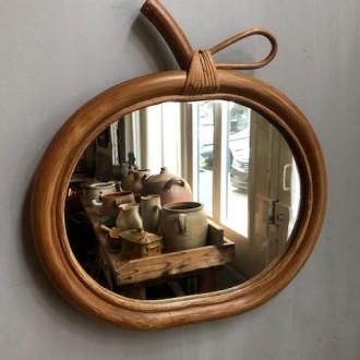 Vintage rotan spiegel (32 x 33)