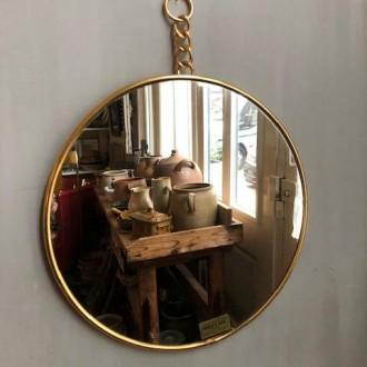 Vintage gouden ronde spiegel Mirclair Paris
