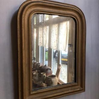 Antieke Franse toogspiegel en verweerde spiegel (43 x 56 cm)