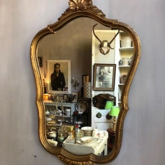 Antieke spiegel goud (35 x 60 cm)