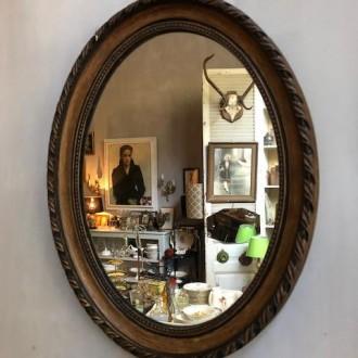 Brocante ovale spiegel (47 x 37 cm)