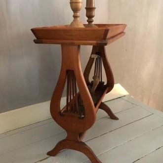Brocante houten bijzettafel 'harp' model