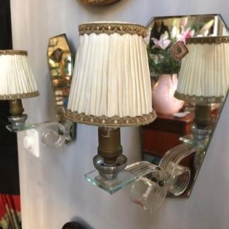 Vintage wandlampjes met spiegelplaat