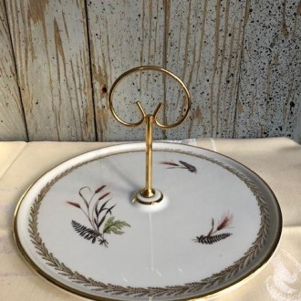 Vintage taartplateau serveerschaal F.D. Porcelaine de Luxe