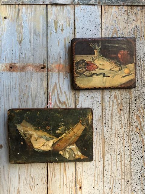 brocante houten tableautjes