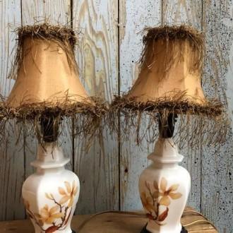 Set kleine Franse tafellampjes met magnolia bloem