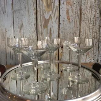 6 Champagne coupes of glazen uit Frankrijk