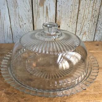 Franse glazen taartstolp met onderbord Arcoroc
