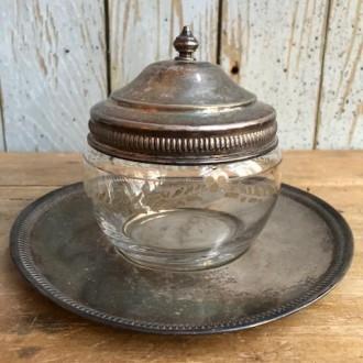 Verzilverd (potpourri) setje met glazen potje met deksel en schotel