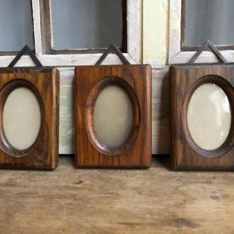 Vintage trio fotolijstjes hout