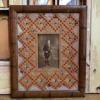 Franse oude faux bamboe lijst met oude foto