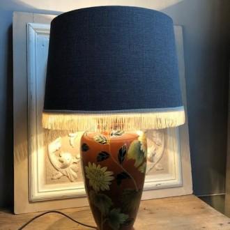 Vintage vaaslamp met bloemen keramiek