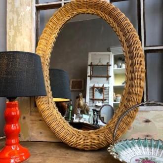 Vintage rotan spiegel ovaal