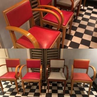 Franse vintage stoelen met gebogen armleuning