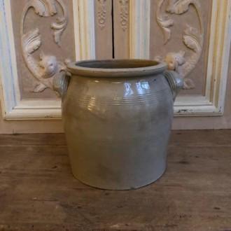 Oude Franse gres pot (18 cm hoog)