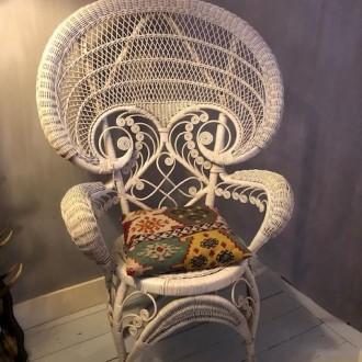 Vintage pauwenstoel rotan stoel