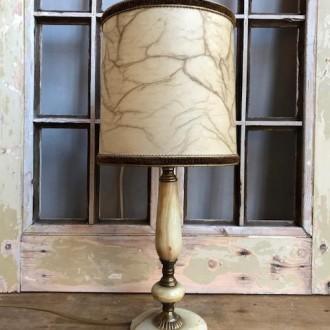 Vintage onyx tafellamp met gemarmerde rechte kap