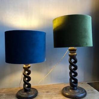 Franse tafellampen met nieuwe velours kappen