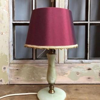 Vintage onyx lamp met warme kap