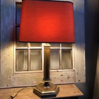 Vintage messing tafellamp (Herda) met prachtige kap